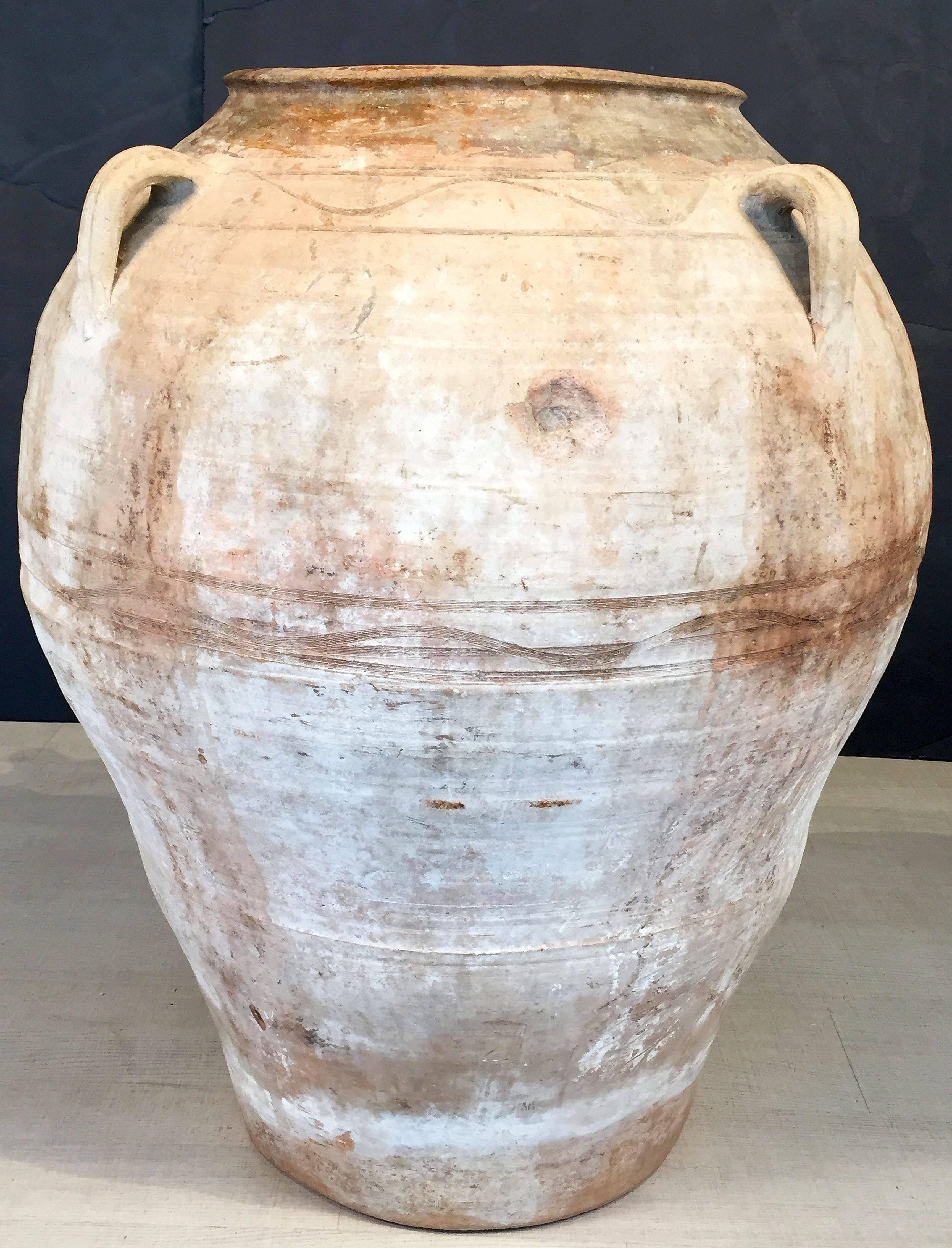 Glazed Large Garden Urn Or Oil Jar From Spain For Sale