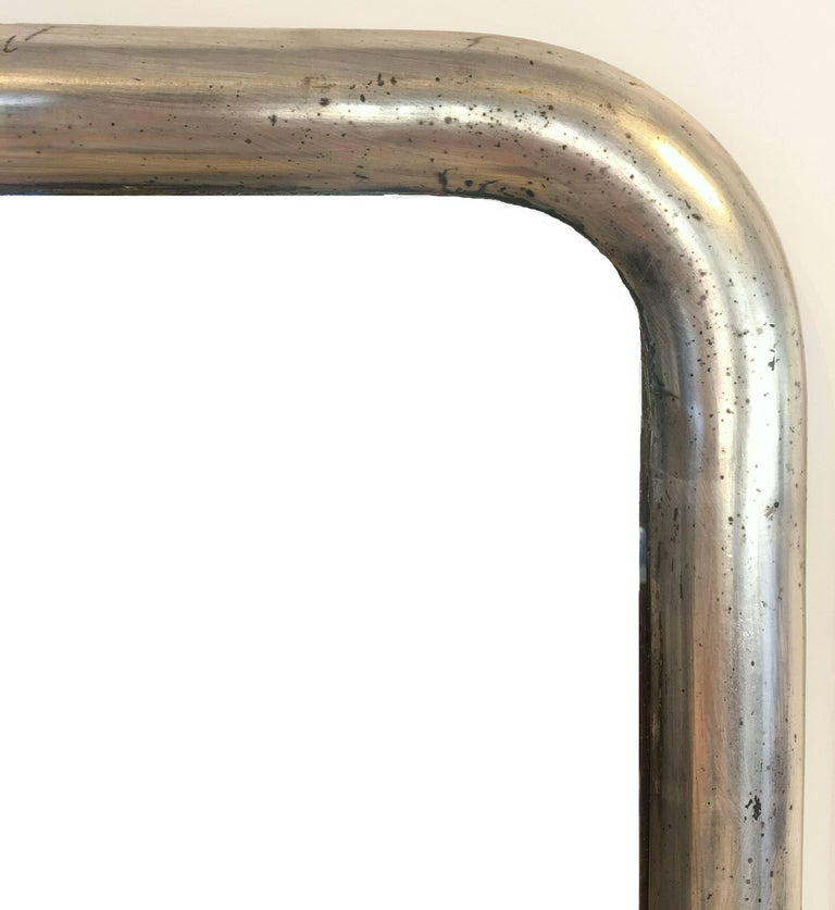20th Century French Silver Gilt Bistro Mirror with Arch Top (H 54 1/2 x W 31) For Sale