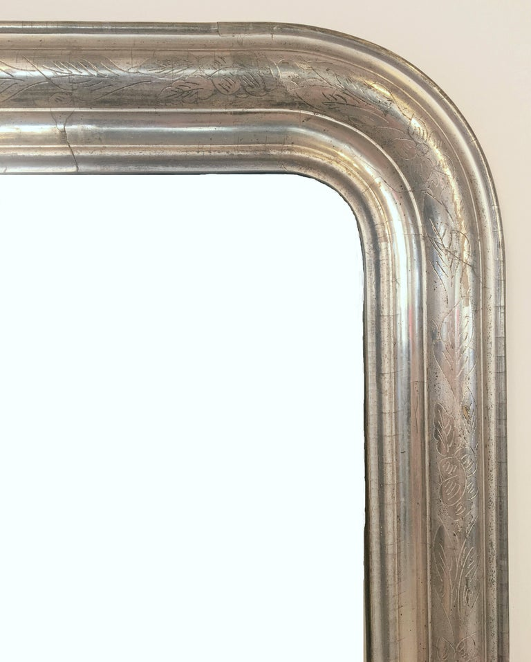 Louis Philippe Silver Gilt Mirror (H 46 x W 30 1/2) In Excellent Condition For Sale In Austin, TX