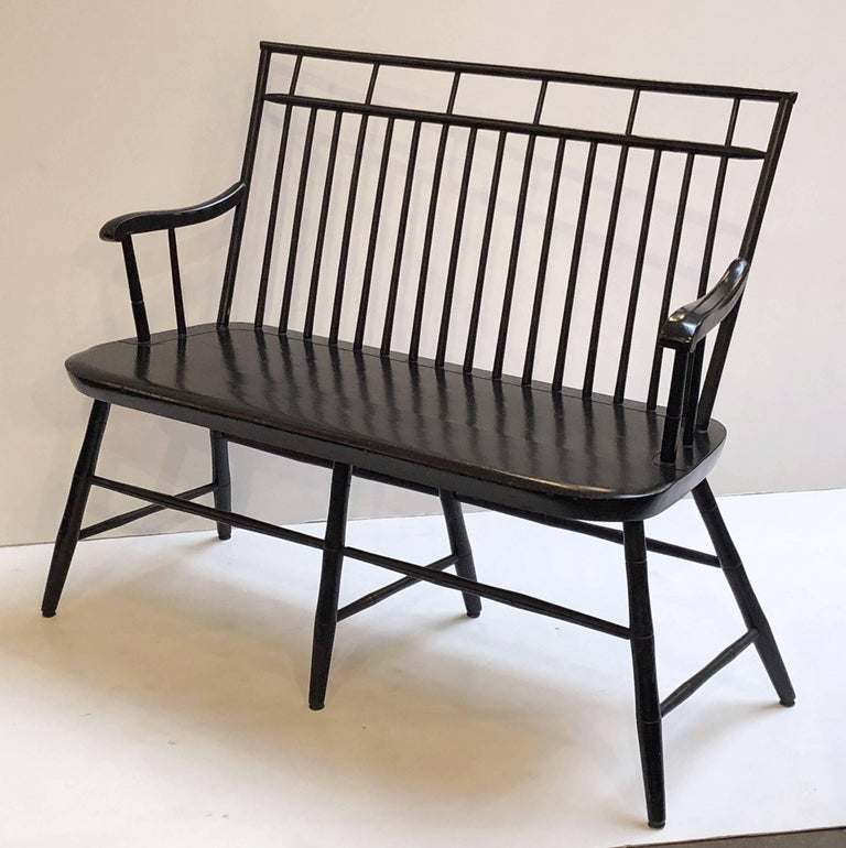 20th Century American Spindle Back Settee or Seating Bench of Painted Wood For Sale