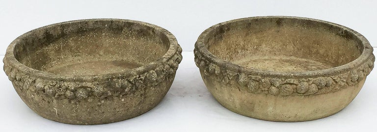Four Large Round English Garden Stone Low Planters 'Individually Priced' In Good Condition For Sale In Austin, TX