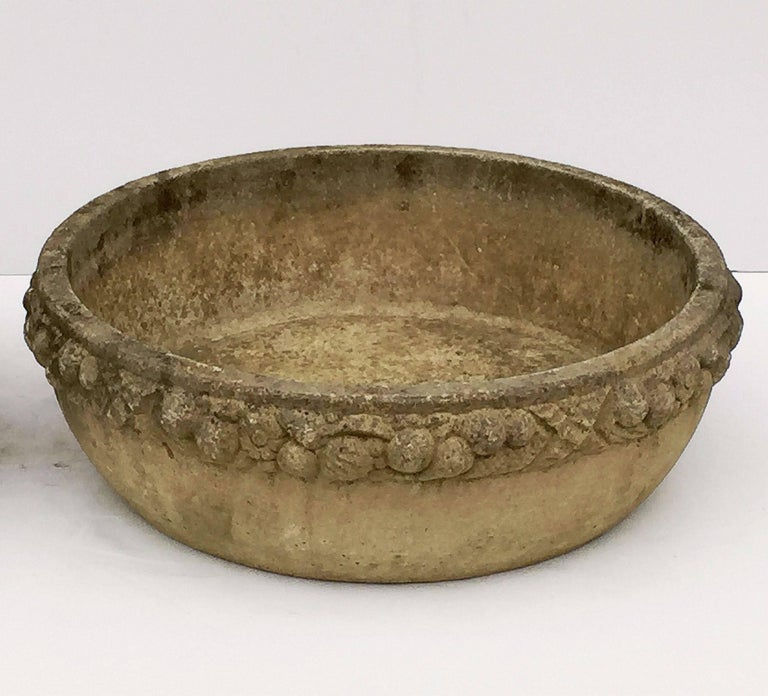 20th Century Four Large Round English Garden Stone Low Planters 'Individually Priced' For Sale