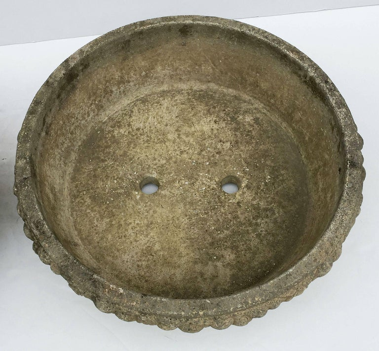 Four Large Round English Garden Stone Low Planters 'Individually Priced' For Sale 6
