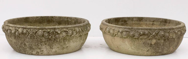 Four Large Round English Garden Stone Low Planters 'Individually Priced' For Sale 3