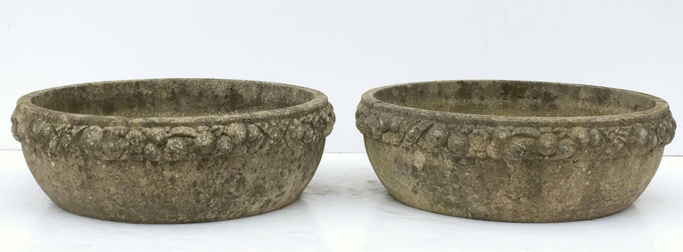 Four Large Round English Garden Stone Low Planters 'Individually Priced' For Sale 1