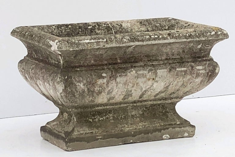20th Century Large Rectangular English Garden Stone Pedestal Trough or Planter For Sale