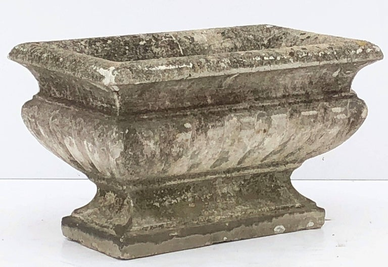 Cast Stone Large Rectangular English Garden Stone Pedestal Trough or Planter For Sale