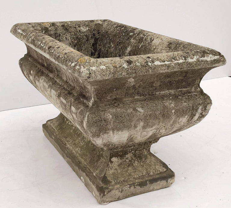 Large Rectangular English Garden Stone Pedestal Trough or Planter For Sale 3