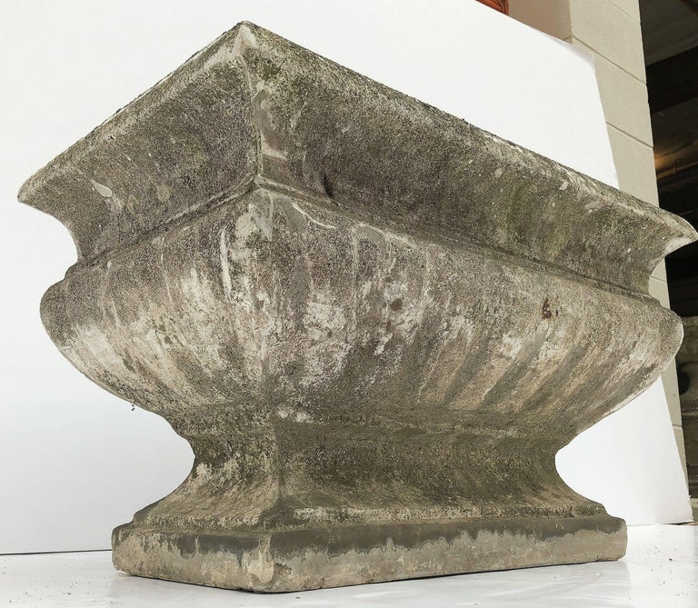 Large Rectangular English Garden Stone Pedestal Trough or Planter For Sale 4