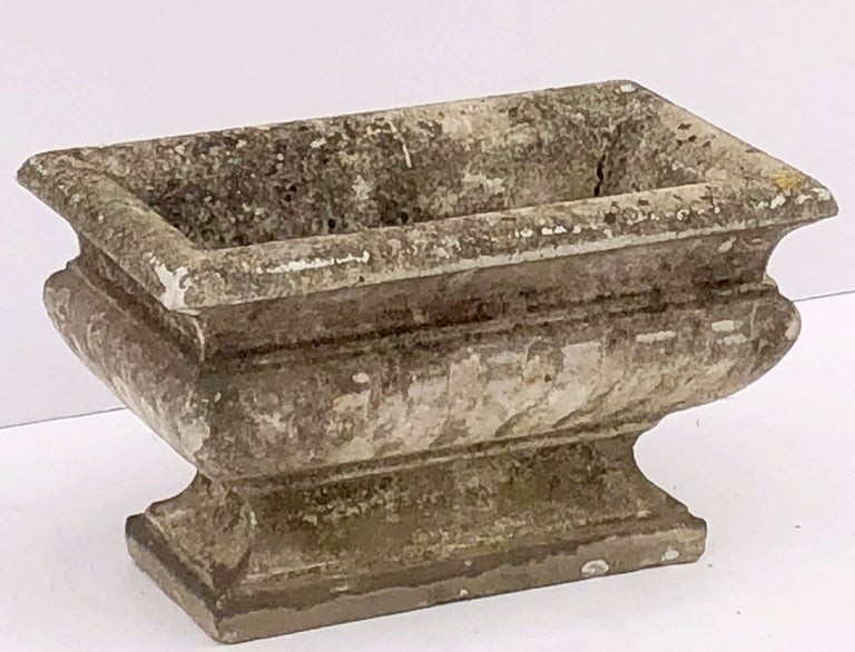 Large Rectangular English Garden Stone Pedestal Trough or Planter For Sale 2