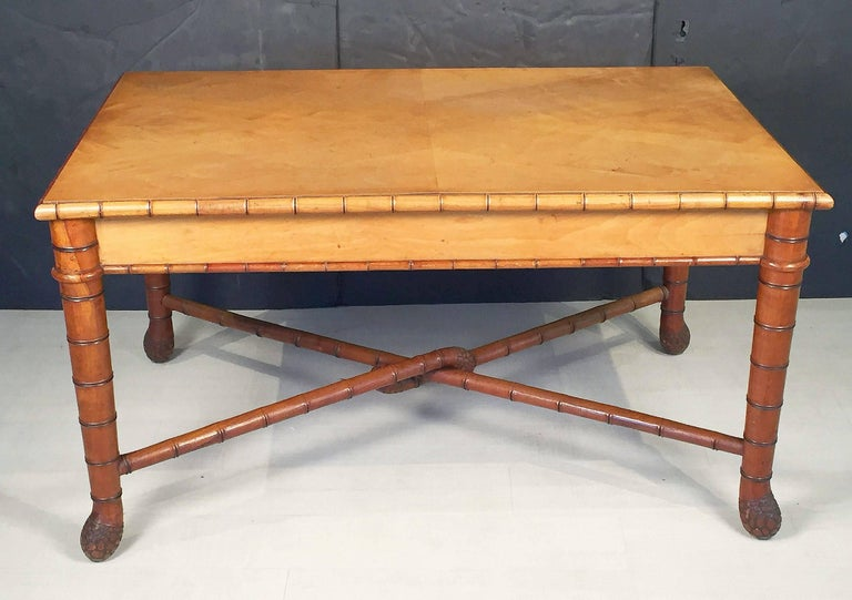 Large Faux Bamboo Table from Italy 3