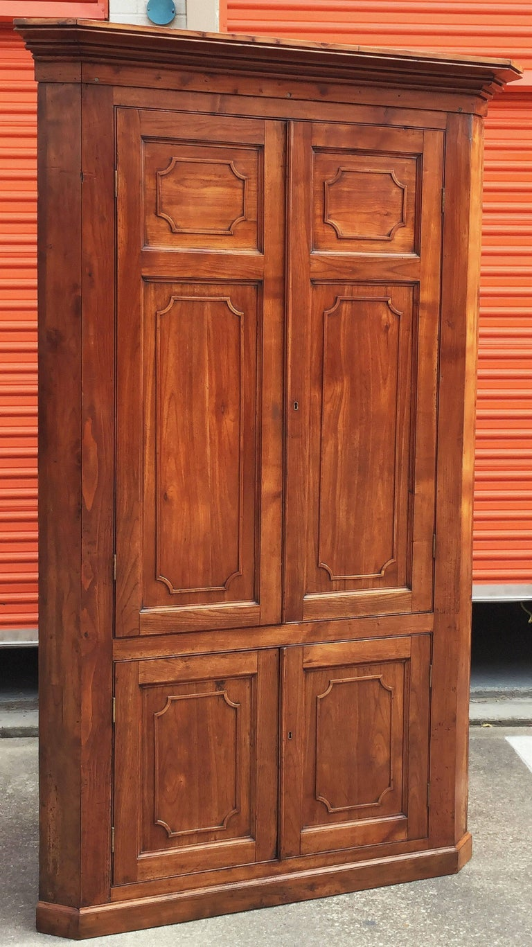 Large Two-Tiered Corner Cabinet or Cupboard of Cherry with ...