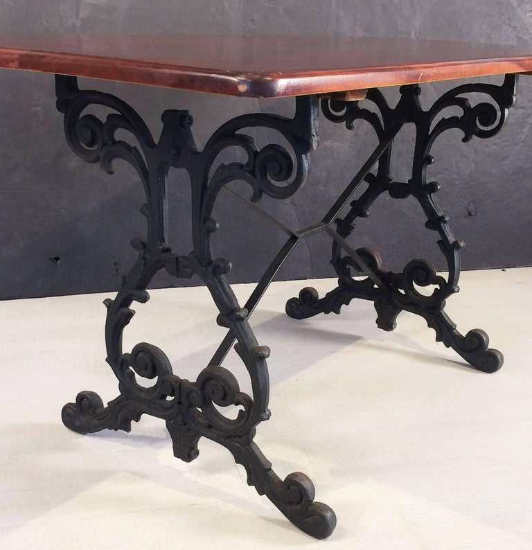 English Bistro or Pub Table of Cast Iron with Wooden Top For Sale 2