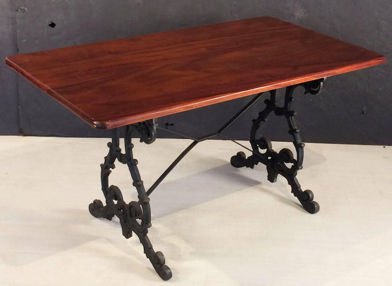 English Bistro or Pub Table of Cast Iron with Wooden Top For Sale 1