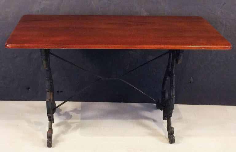 English Bistro or Pub Table of Cast Iron with Wooden Top For Sale 6