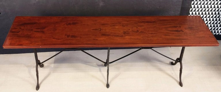 English Bistro or Console Table of Cast Iron with Wooden Top In Excellent Condition For Sale In Austin, TX