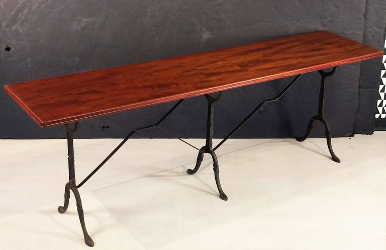 19th Century English Bistro or Console Table of Cast Iron with Wooden Top For Sale