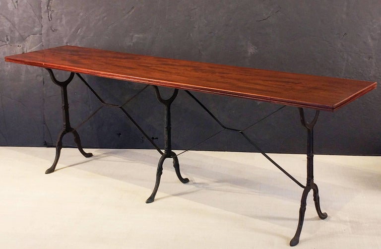 English Bistro or Console Table of Cast Iron with Wooden Top For Sale 1