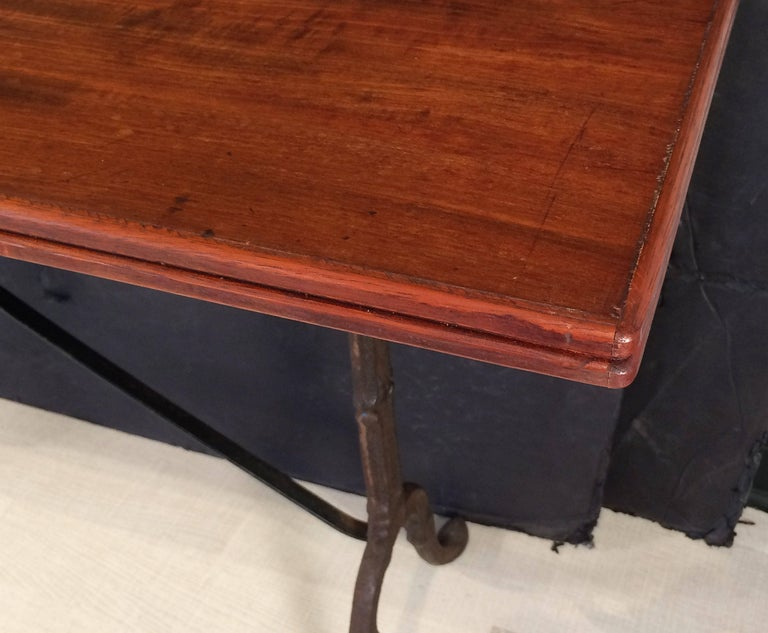 English Bistro or Console Table of Cast Iron with Wooden Top For Sale 4