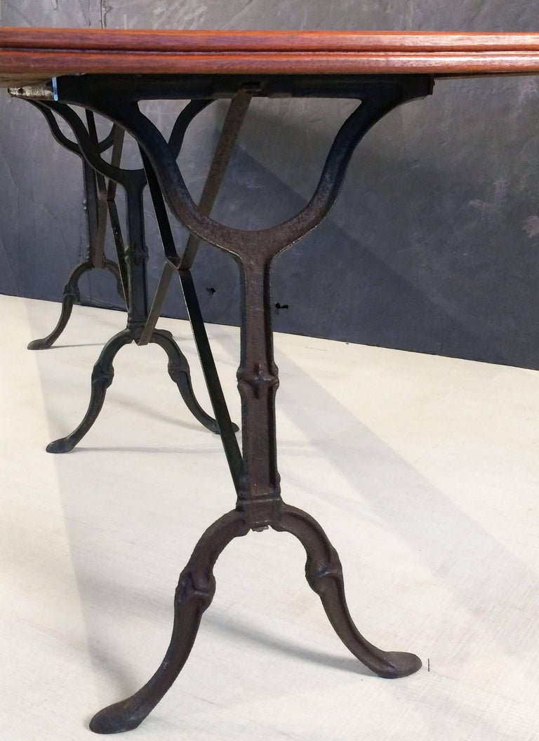 English Bistro or Console Table of Cast Iron with Wooden Top For Sale 6