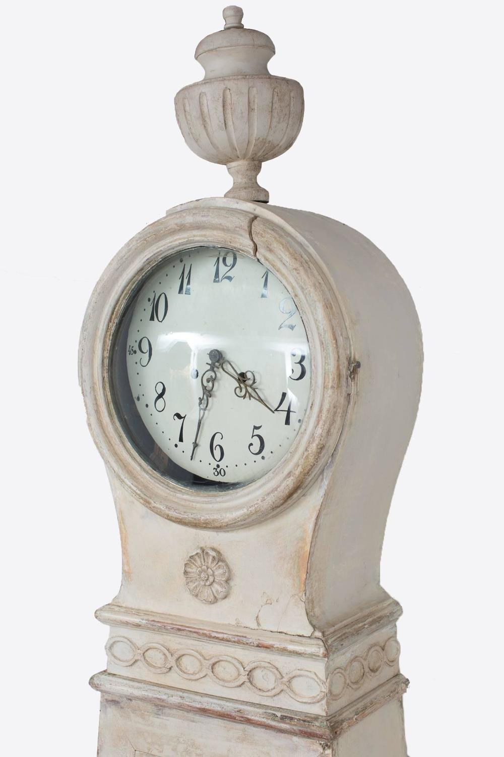 Floor Clock White Painted Gustavian Sweden For Sale At