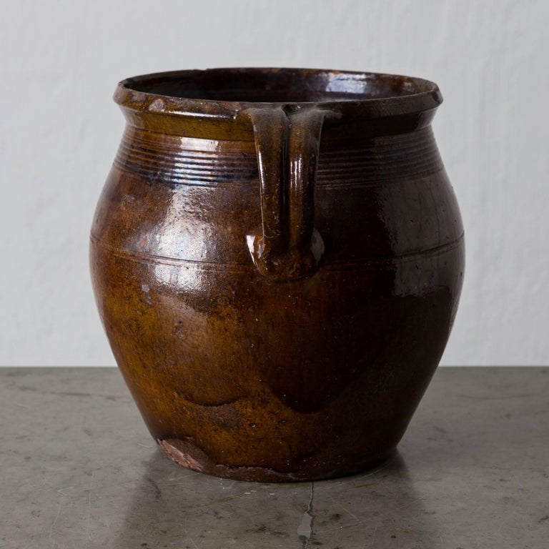 Pottery jar Swedish, 19th century, Sweden. A salt glazed terracotta pot made in Sweden during the 19th century.