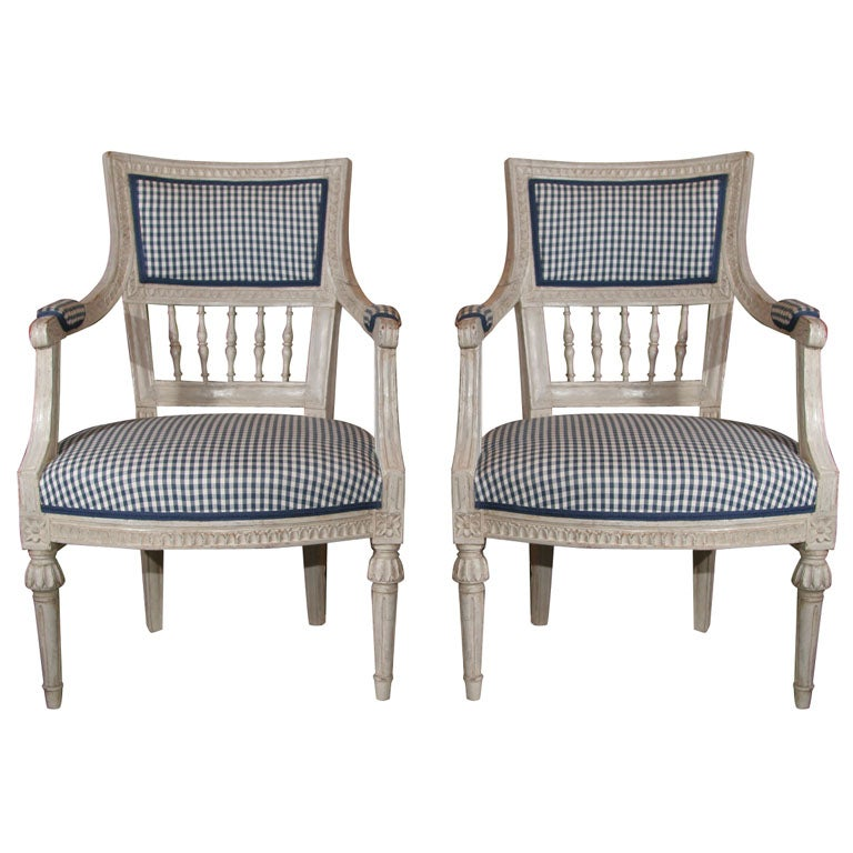 Armchairs Swedish Gustavian 19th Century White Sweden