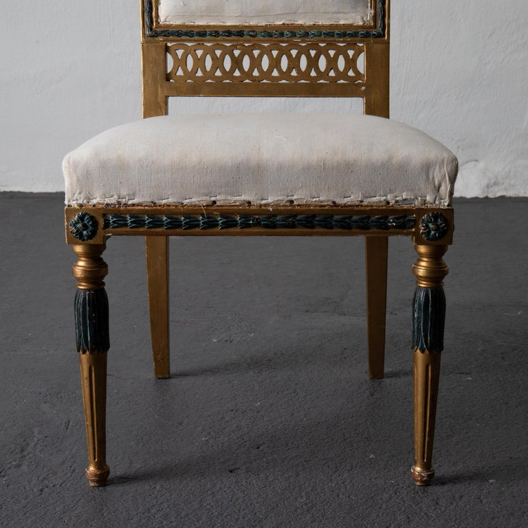 19th Century Dining Chairs Swedish Set of 6 Neoclassical Gilded Green, Sweden For Sale