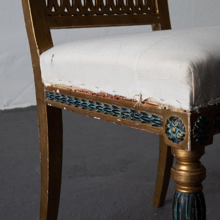 Dining Chairs Swedish Set of 6 Neoclassical Gilded Green, Sweden For Sale 2