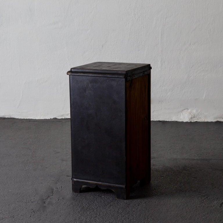 Folk Art Side Table Nightstand Swedish Black, 19th Century, Sweden For Sale