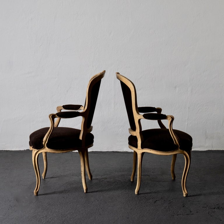 Armchair Pair Swedish Rococo Yellow Brown Sweden In Good Condition For Sale In New York, NY