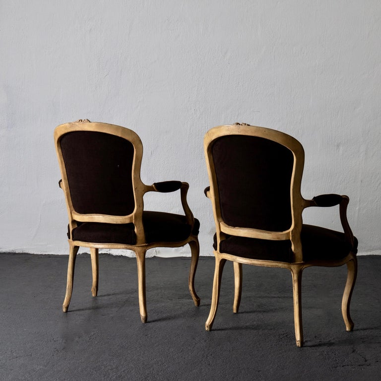 18th Century Armchair Pair Swedish Rococo Yellow Brown Sweden For Sale