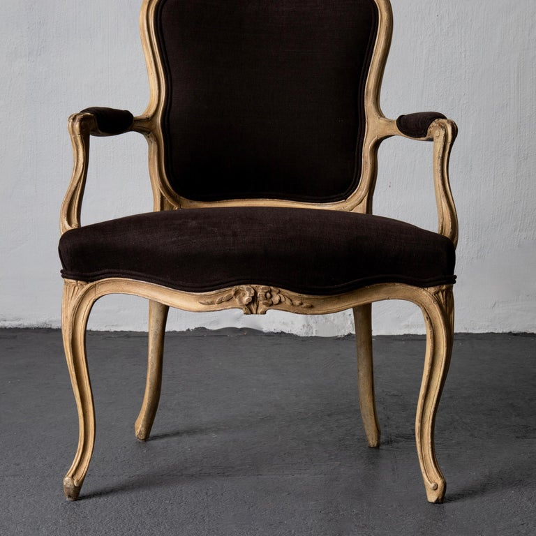 Armchair Pair Swedish Rococo Yellow Brown Sweden For Sale 4