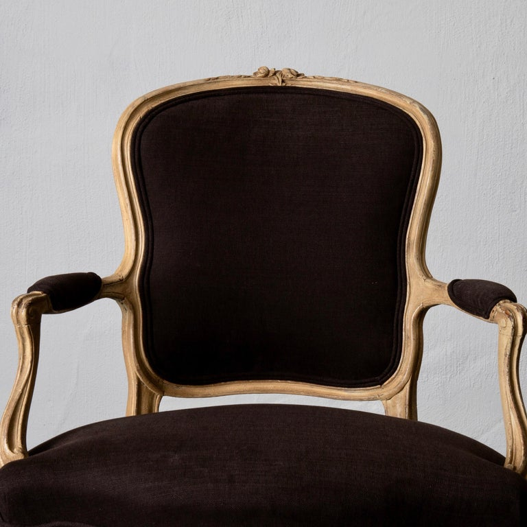 Armchair Pair Swedish Rococo Yellow Brown Sweden For Sale 5