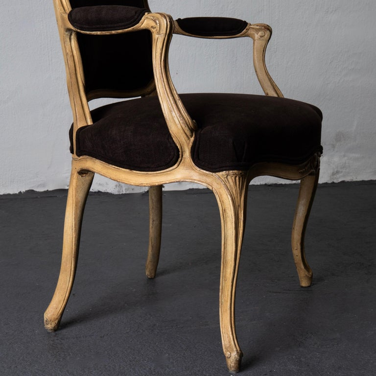 Armchair Pair Swedish Rococo Yellow Brown Sweden For Sale 6