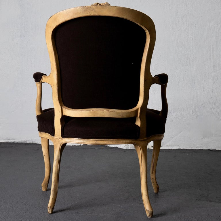 Armchair Pair Swedish Rococo Yellow Brown Sweden For Sale 7