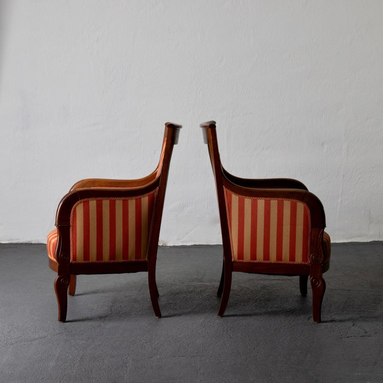 Chairs Pair of Empire French Mahogany France In Good Condition For Sale In New York, NY