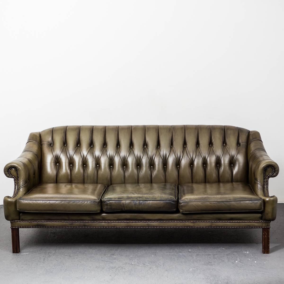 green leather sofa england at 1stdibs