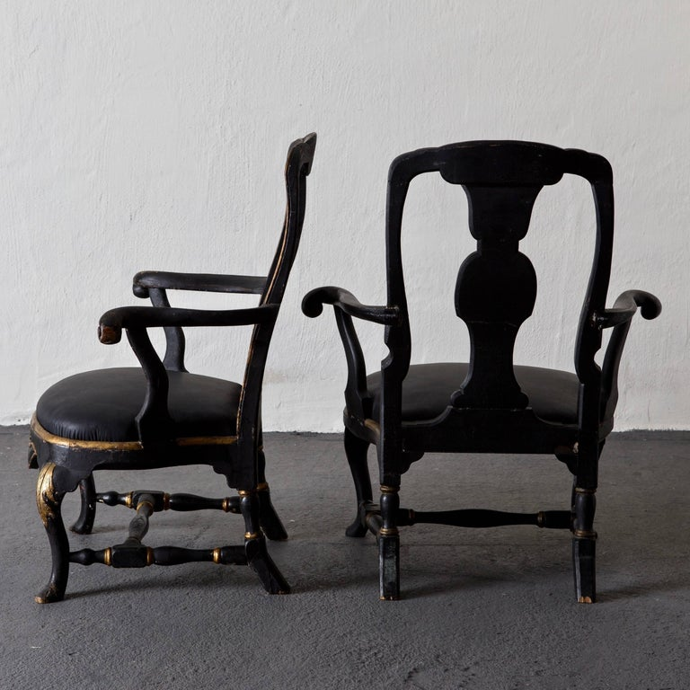 Armchairs Assembled Pair Swedish Rococo, 18th Century Period Black Sweden In Good Condition For Sale In New York, NY