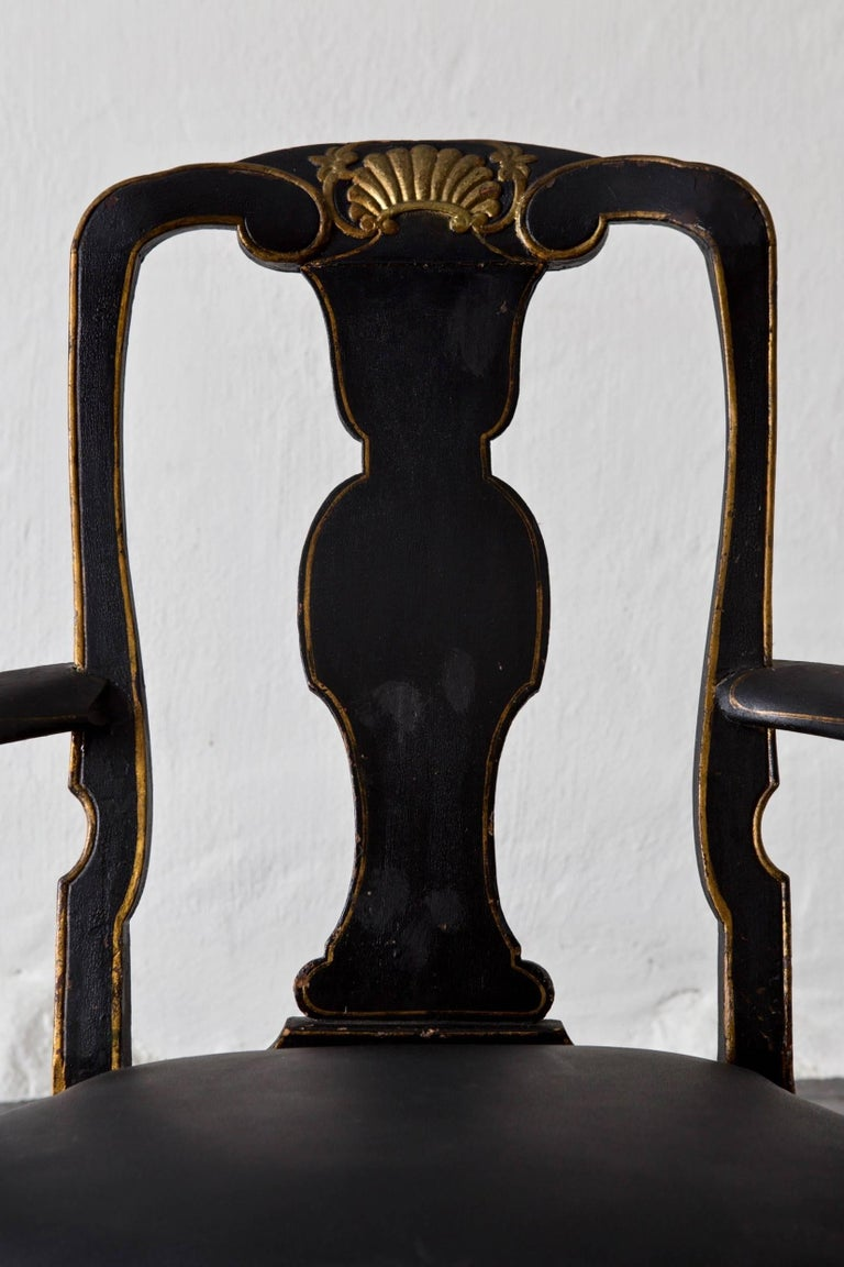 Armchairs Assembled Pair Swedish Rococo, 18th Century Period Black Sweden For Sale 1