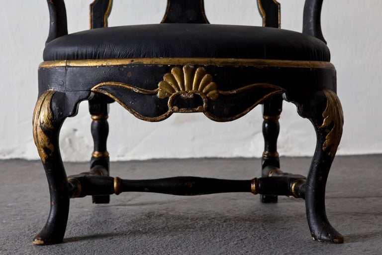 Armchairs Assembled Pair Swedish Rococo, 18th Century Period Black Sweden For Sale 2
