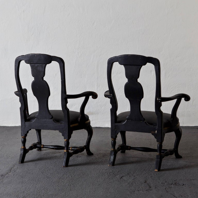 Mid-18th Century Armchairs Assembled Pair Swedish Rococo, 18th Century Period Black Sweden For Sale