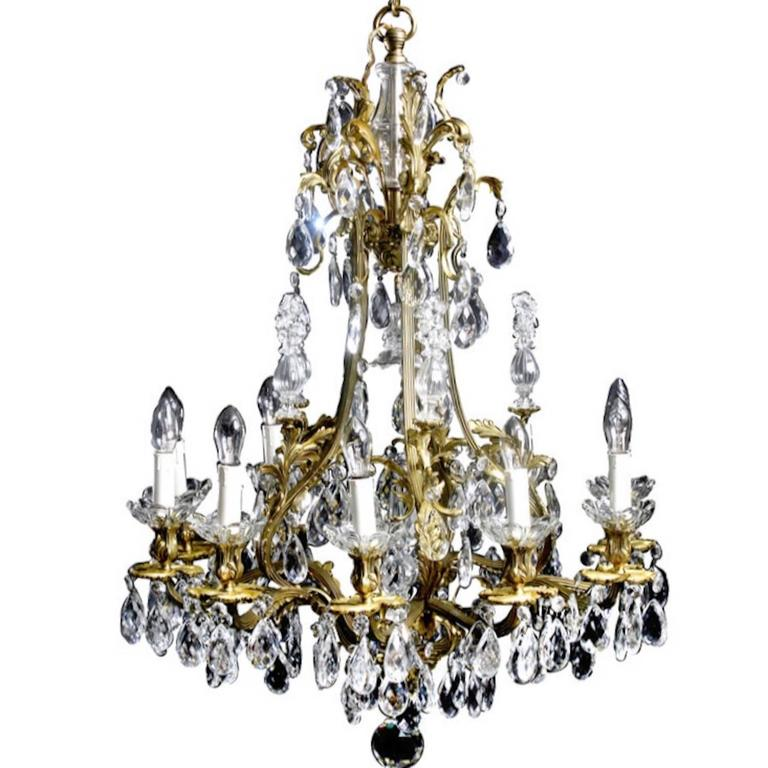 Chandelier Large Swedish Rococo Style 19th Century Sweden