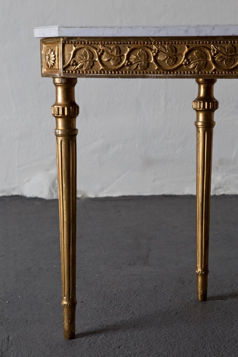 Gustavian Table Console Swedish Neoclassical 18th Century Marble Giltwood Sweden For Sale