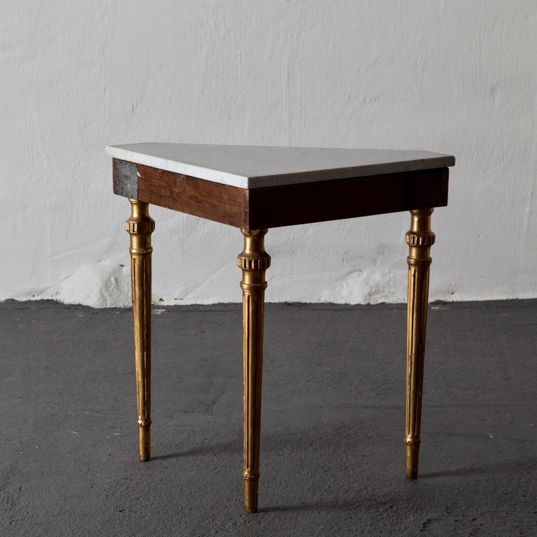 Table Console Swedish Neoclassical 18th Century Marble Giltwood Sweden For Sale 1