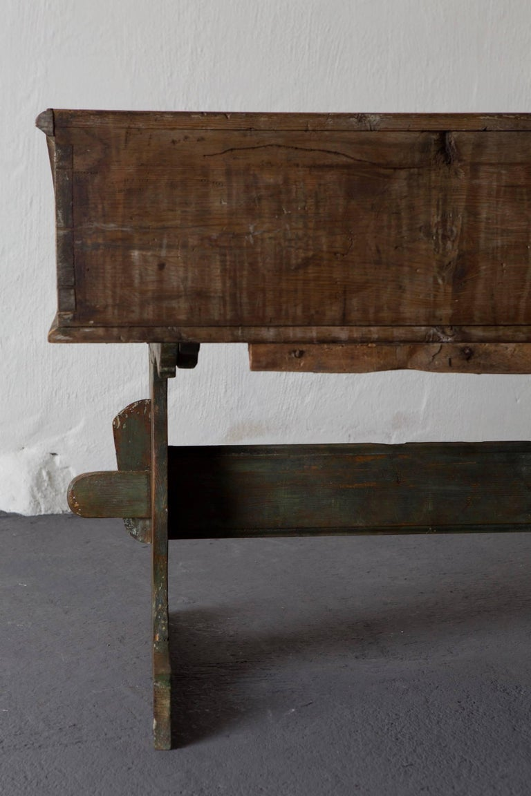 Bentwood Desk Swedish 18th Century Green Original Paint Sweden For Sale