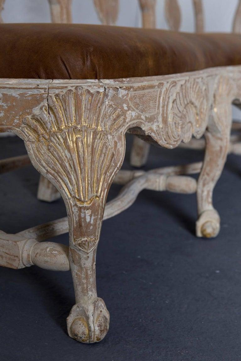 Wood Sofa Bench Swedish Rococo Original Light Paint 1750-1775, Sweden For Sale