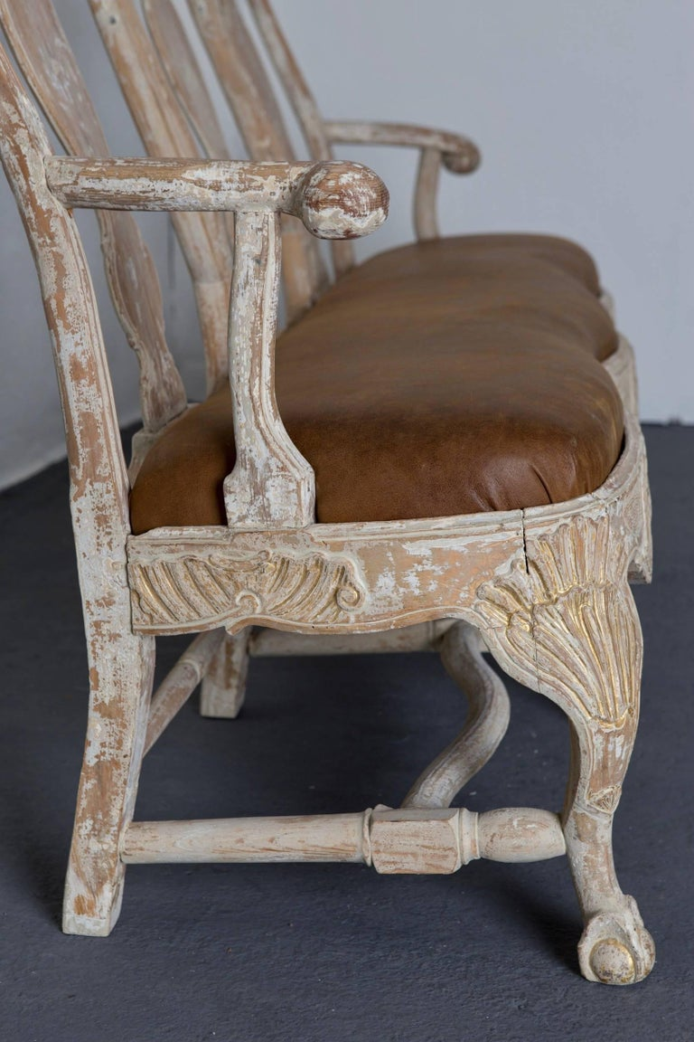 Sofa Bench Swedish Rococo Original Light Paint 1750-1775, Sweden For Sale 2