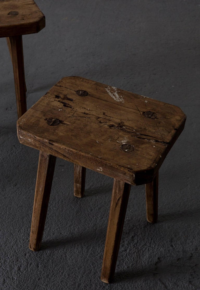 Folk Art Stools Benches Swedish 19th Century, Sweden For Sale
