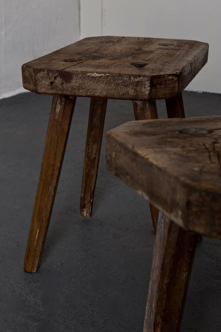 Oak Stools Benches Swedish 19th Century, Sweden For Sale